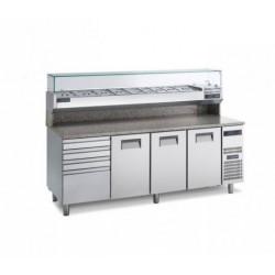 Gemm Pizza Prep Counter GN1/1 - 3+1 doors